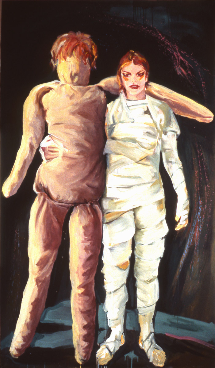 1980-11_Me and my puppet_1980_Acryl-Nessel_190 x 110 cm