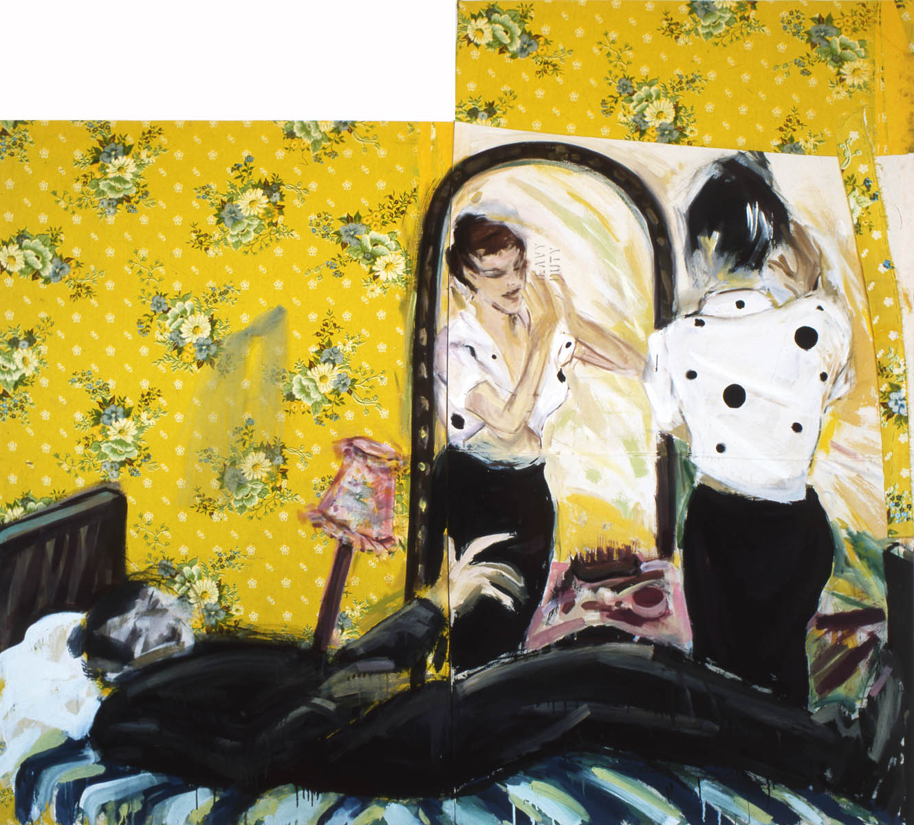1982-7_Couple in Sweet home_Acryl-Stoff_225x203 cm
