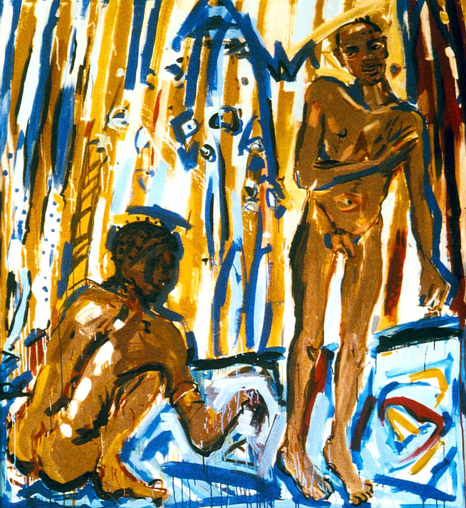 1983-48_Two under the shower_1983_Acry-Nessel_--