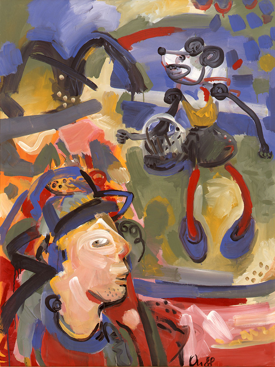 1988-21_Mini-mouse-and-stranger_1988_arcrl-leinwand_121x90cm